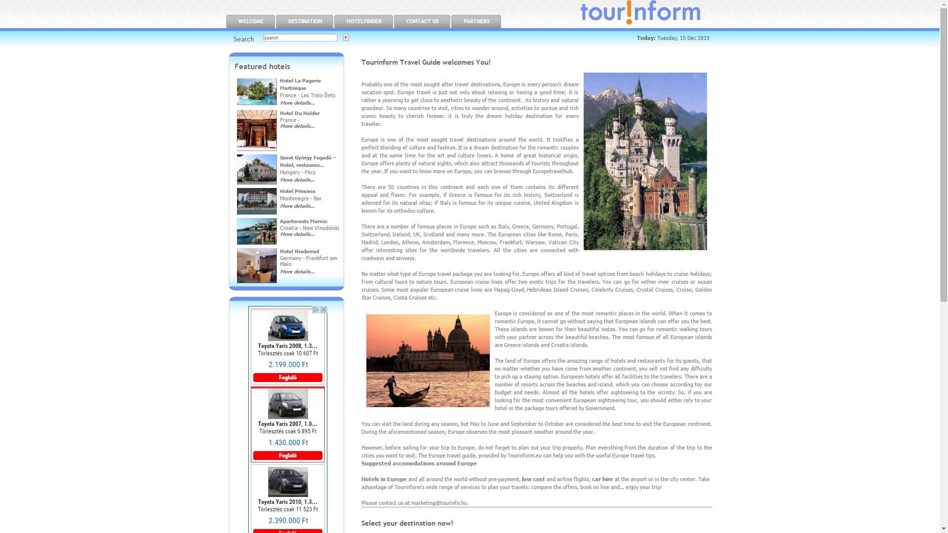 Tourinform.eu – Nemzetközi szállodaadatbázis